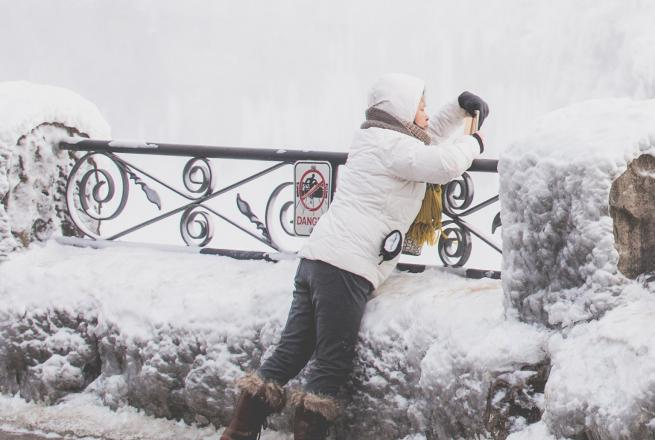 woman photographer in winter